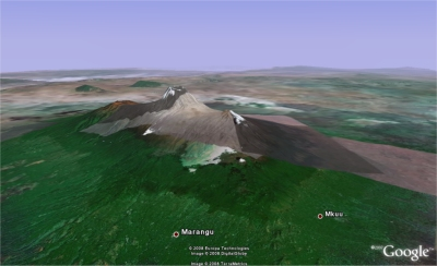 Kilimanjaro in Google Earth